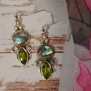 Jewelry - Abalone Shell & Peridot Earrings